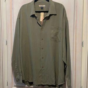 Tommy Bahama 100% Silk Long Sleeve Button Down